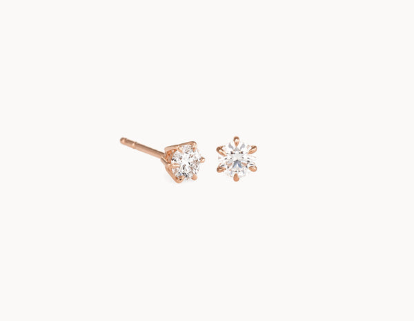 Simple Modern 18k Rose Gold 1/4ct Round Brilliant Diamond Studs