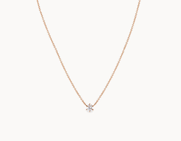 Classic Minimal 18k Rose Gold 1/4ct Round Brilliant Diamond Necklace