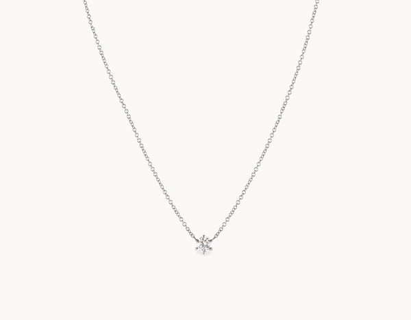 Classic Minimal 18k White Gold 1/4ct Round Brilliant Diamond Necklace