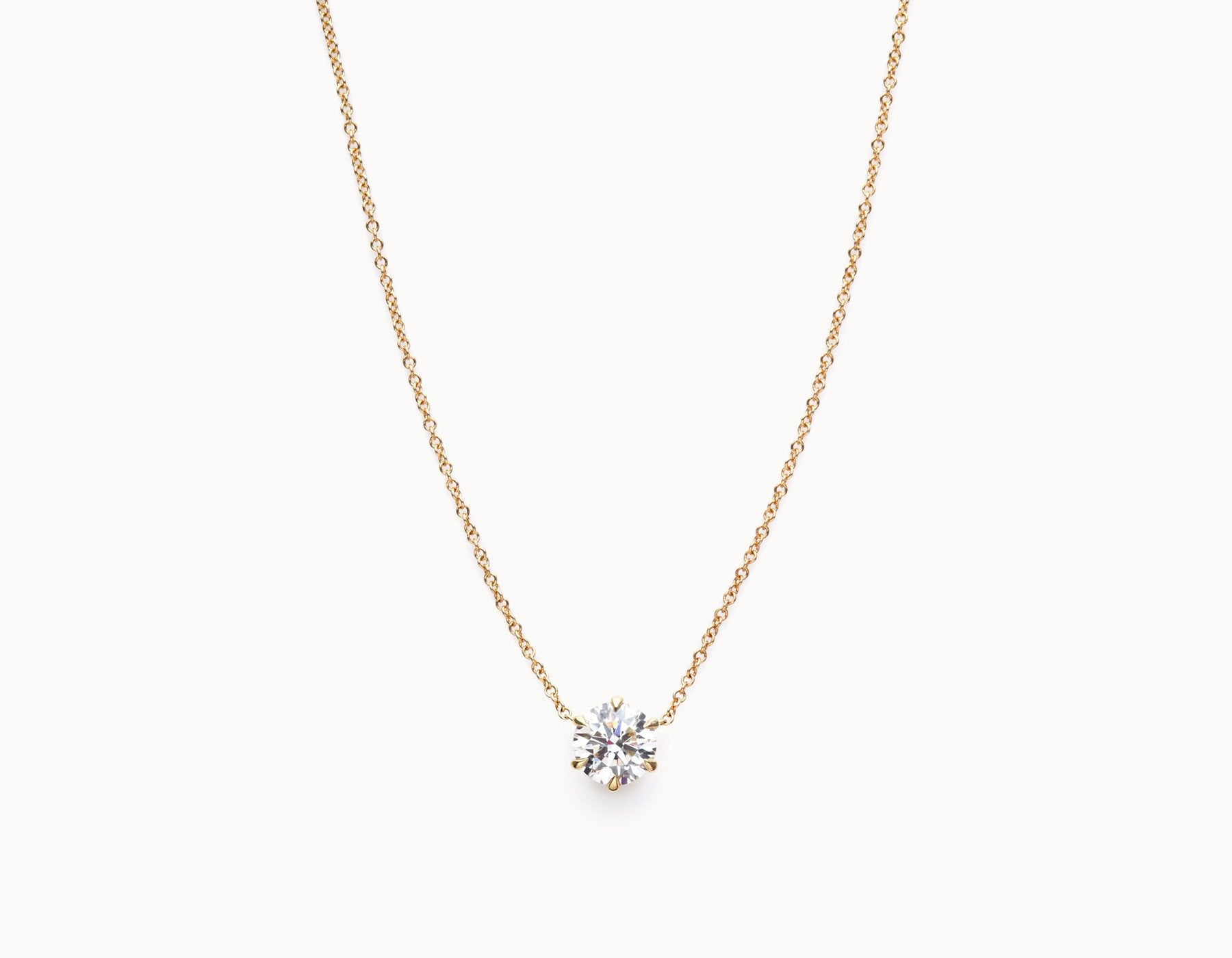 tradesy diamond solitaire necklace brilliant gold set bezel i white