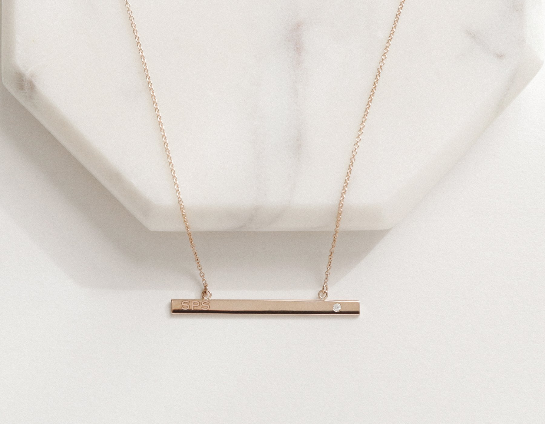 Vrai & Oro Personalized Bar Necklace with a diamond