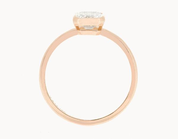 The Emerald Bezel Engagement Ring | 18k Rose Gold