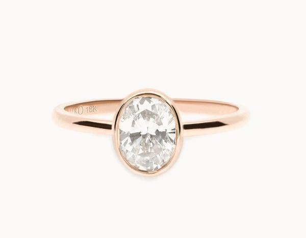The Oval Bezel Engagement Ring | 18k Rose Gold