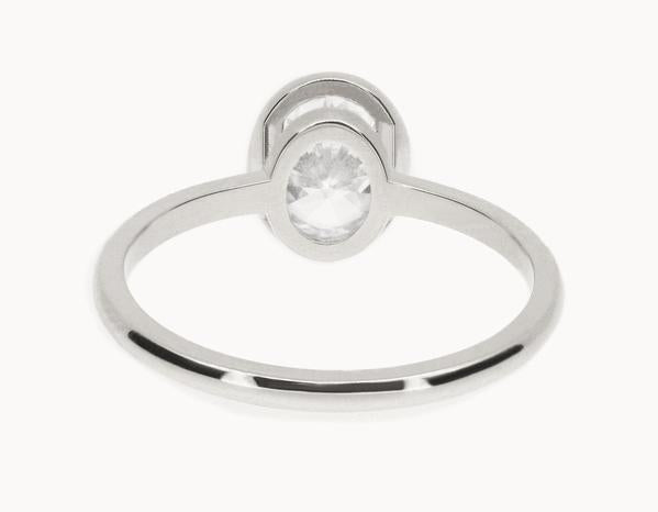 The Oval Bezel Engagement Ring | 18k White Gold