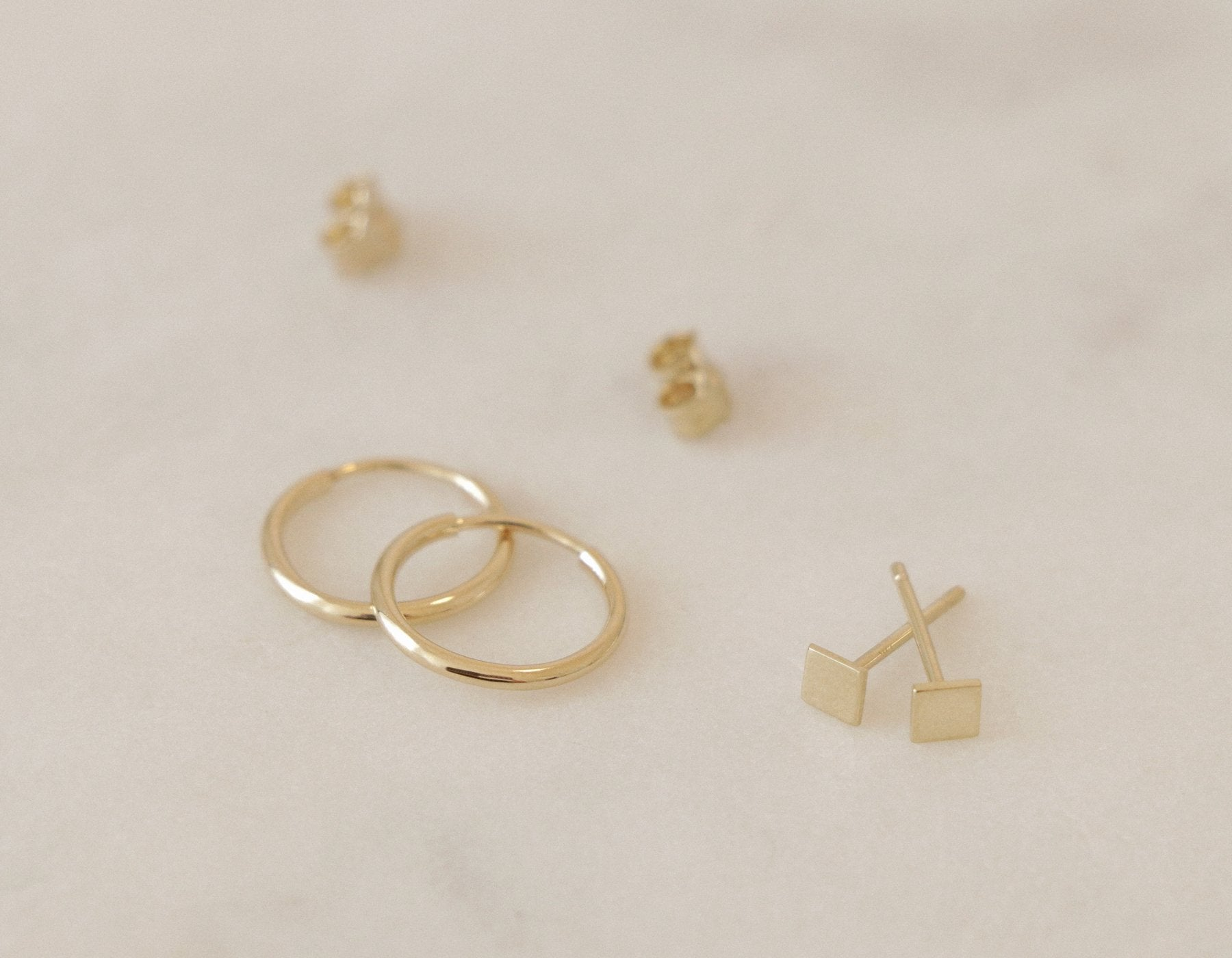 14k white square stud earrings vrai oro