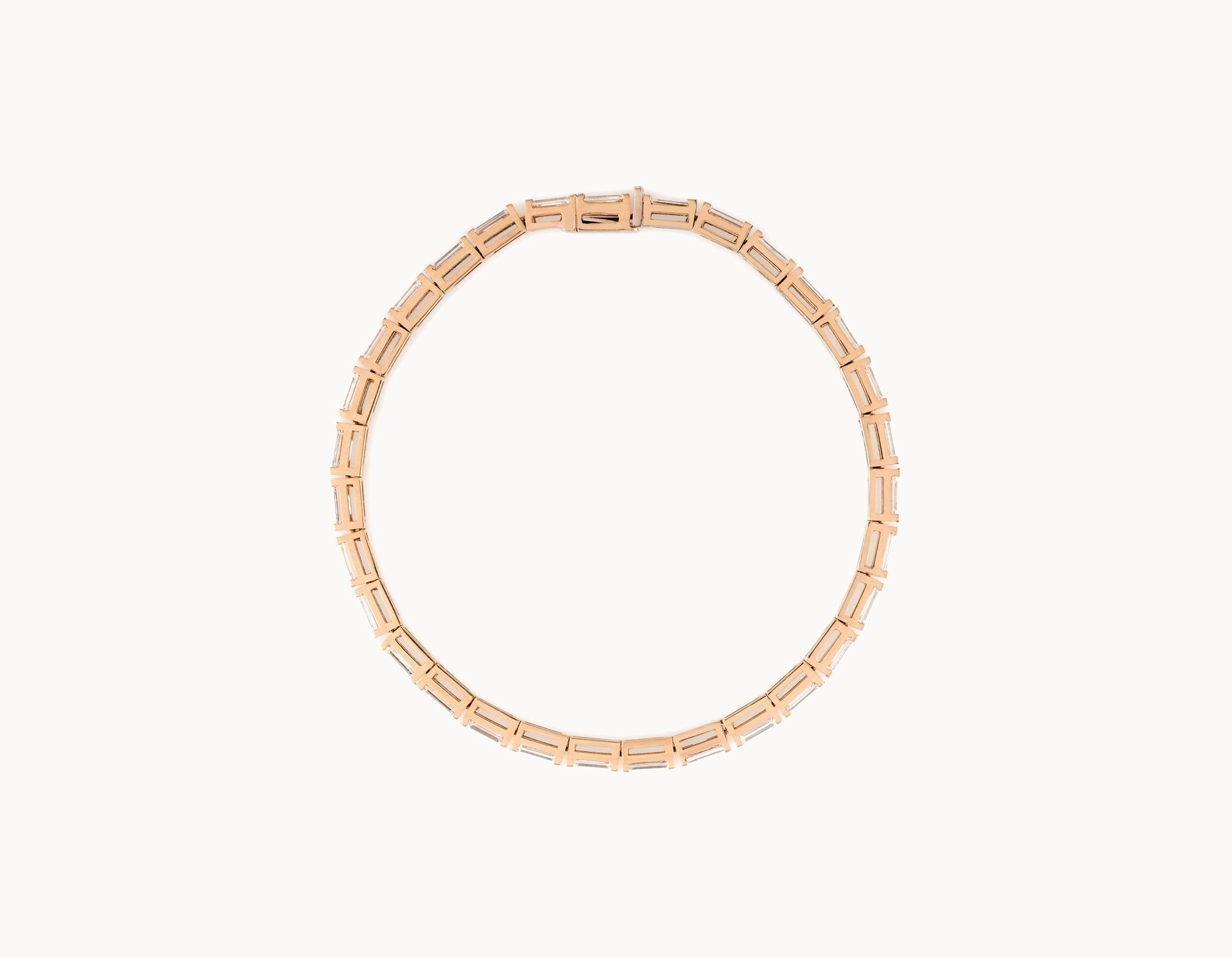 Simple Modern 18k Rose Gold Baguette Diamond Tennis Bracelet