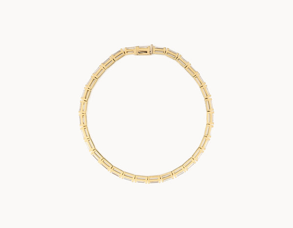 Simple Modern 18k Yellow Gold Baguette Diamond Tennis Bracelet