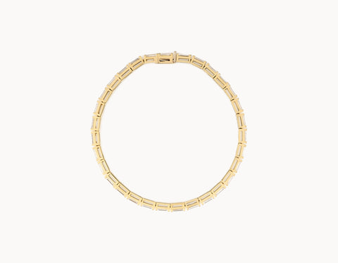 Classic Minimal 18k Yellow Gold Baguette Diamond Tennis Bracelet
