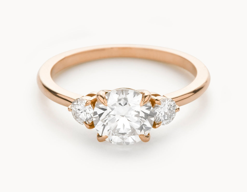 The Three Stone Engagement Ring 18k Rose Gold Vrai Oro Wedding