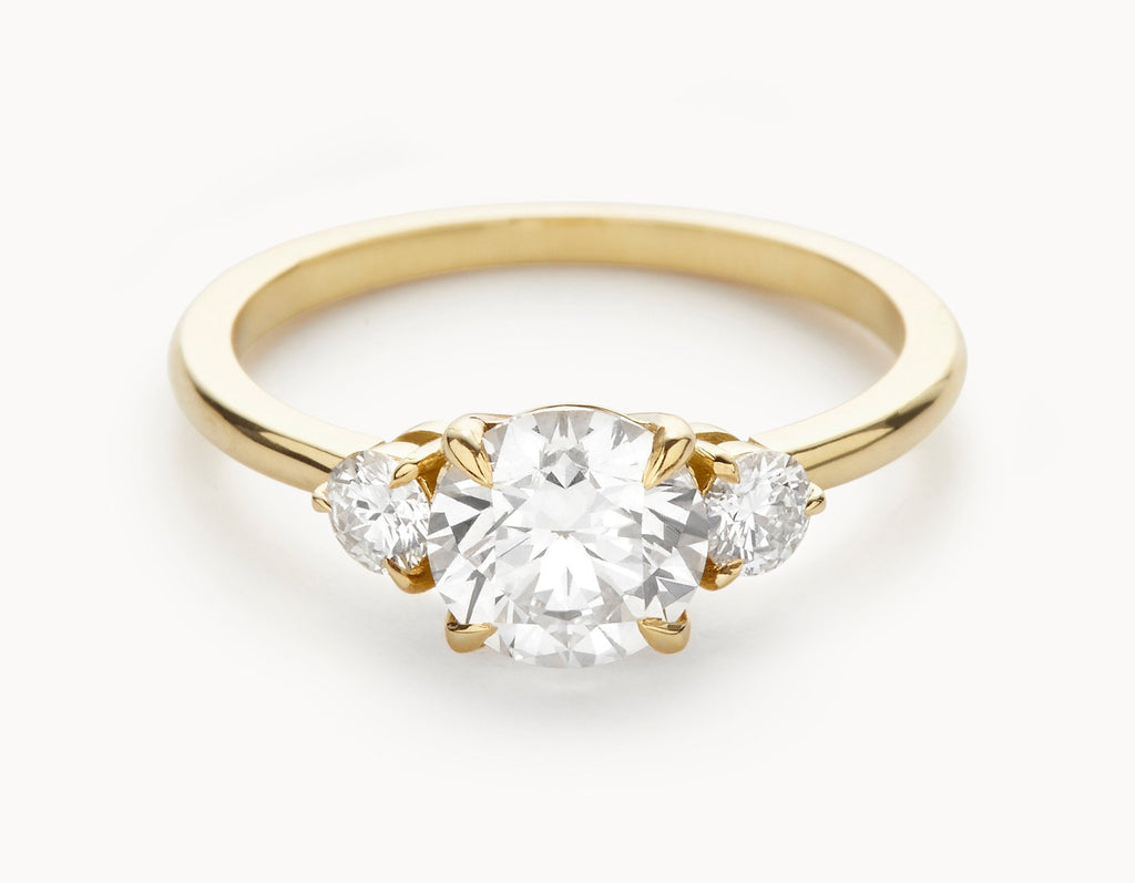 stone diamond three yellow platinum white gold the ring goldsmith engagement village jewellery rose