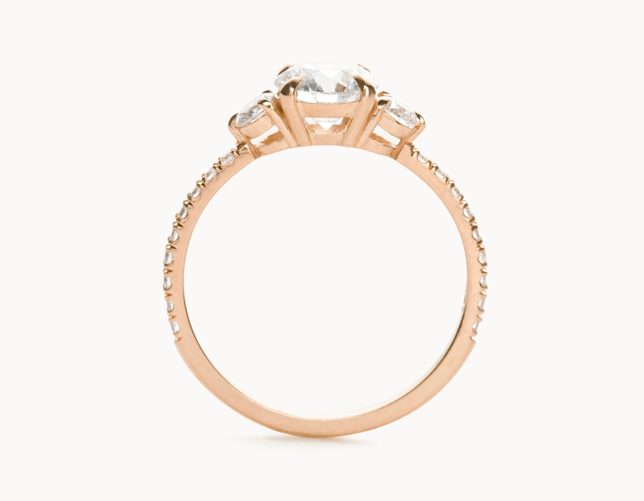 Simple 18k Rose Gold Three Stone Pave Band Diamond Engagement Ring