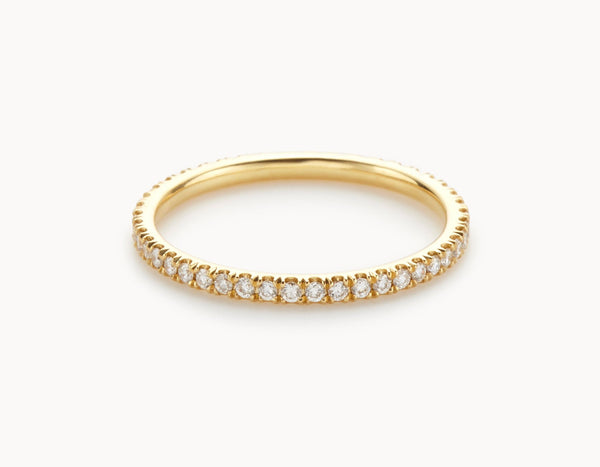 Modern 18k Yellow Gold Infinity Eternity Wedding Band