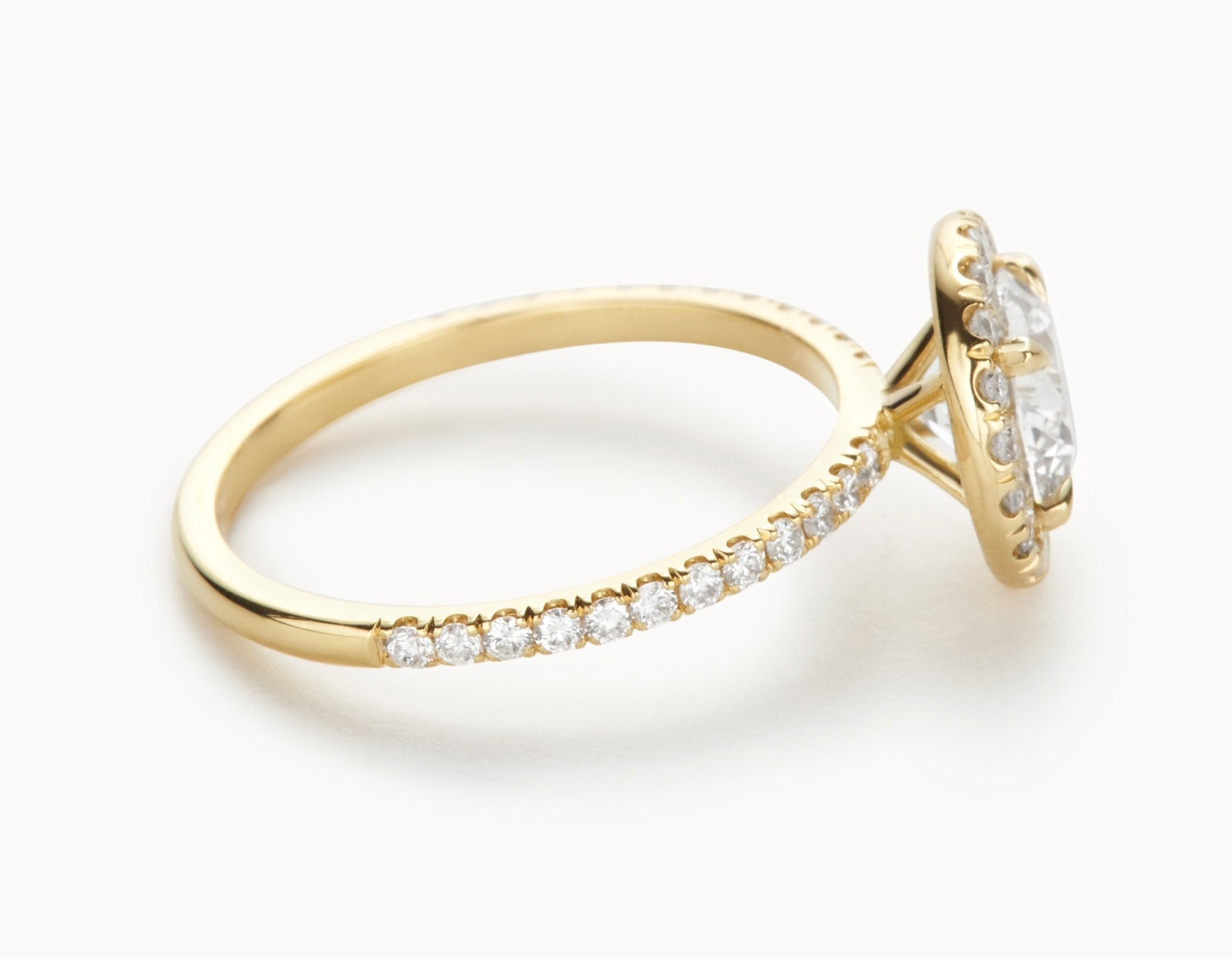 Modern 18k Yellow Gold Halo Pave Band Diamond Engagement Ring