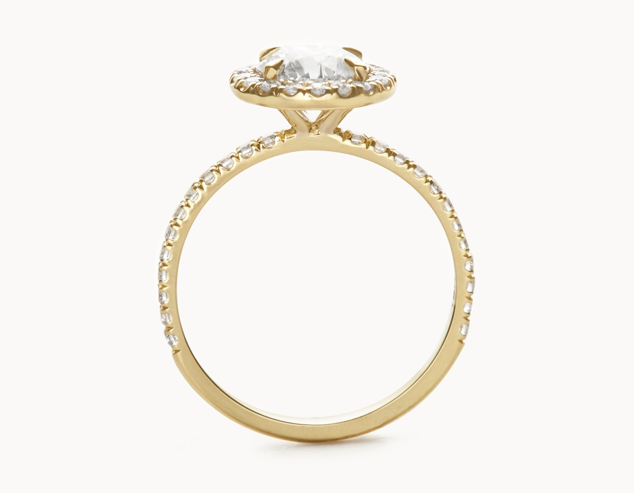 Simple 18k Yellow Gold Halo Pave Band Diamond Engagement Ring