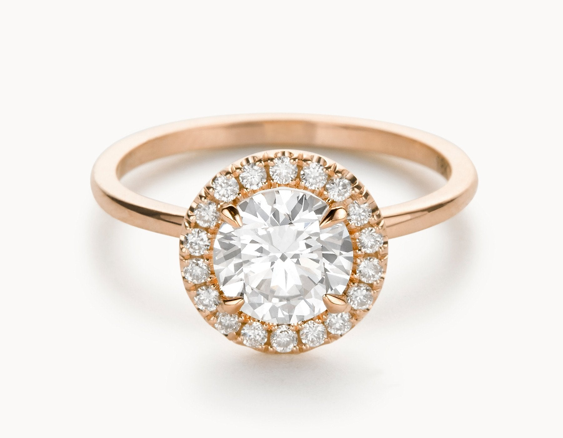 Modern 18k Rose Gold Halo Diamond Engagement Ring