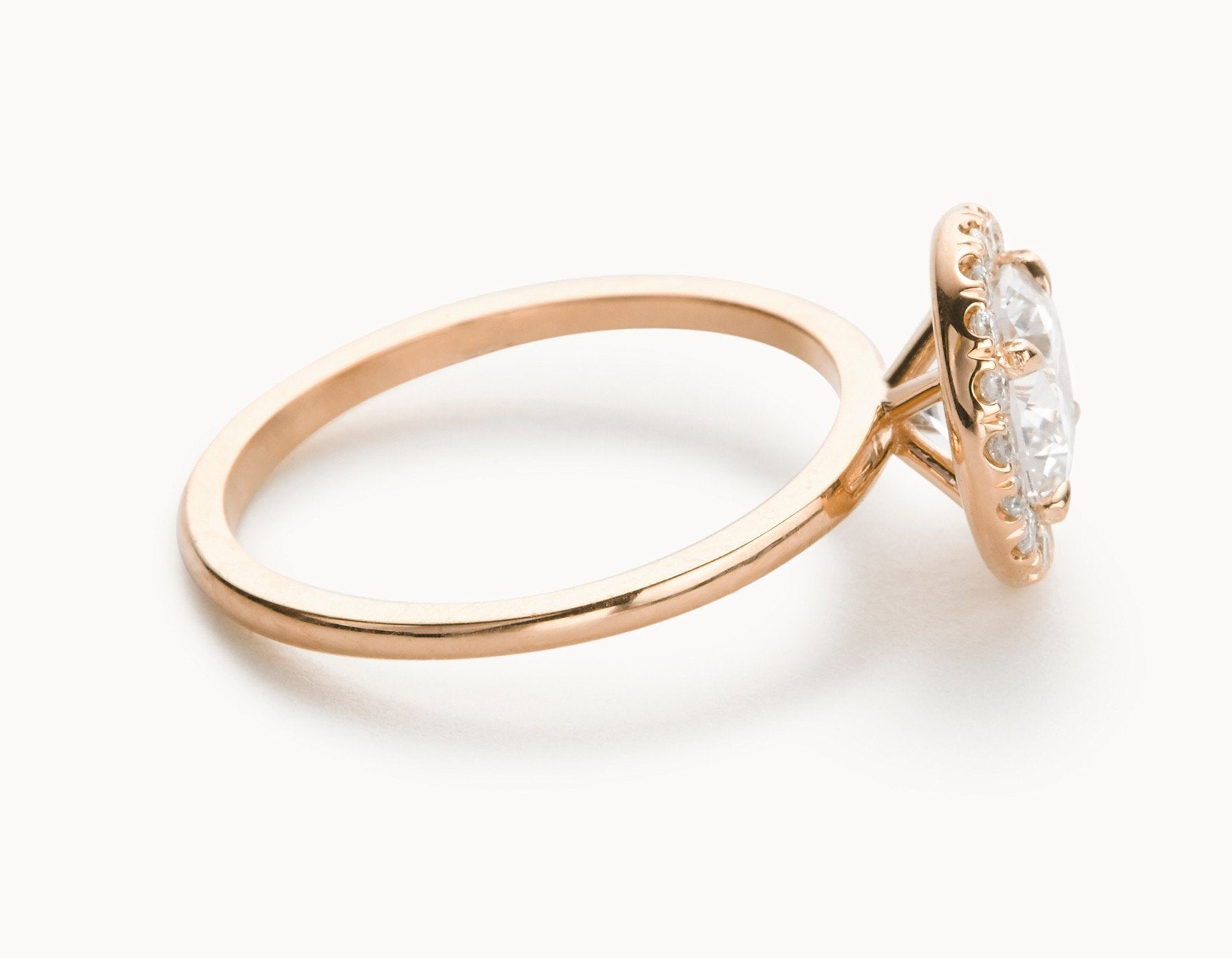 Minimal 18k Rose Gold Halo Diamond Engagement Ring