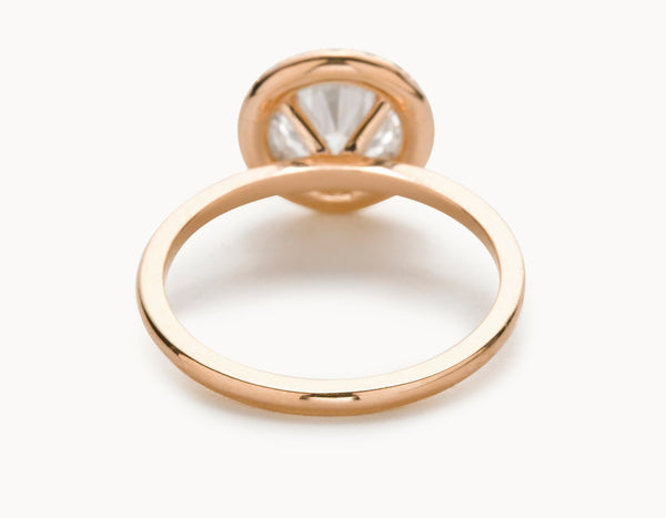 Classic 18k Rose Gold Halo Diamond Engagement Ring
