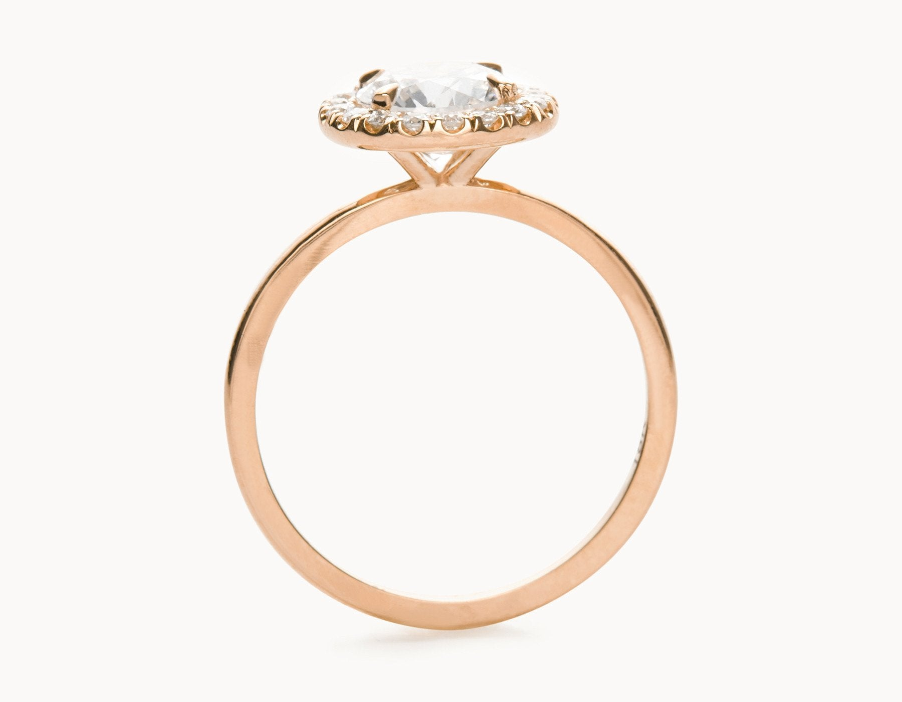 Simple 18k Rose Gold Halo Diamond Engagement Ring