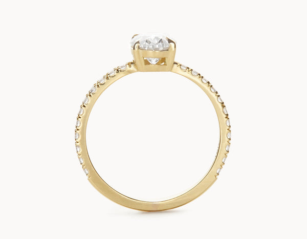 Simple 18k Yellow Gold Halo Oval Vertical Setting Band Diamond Engagement Ring