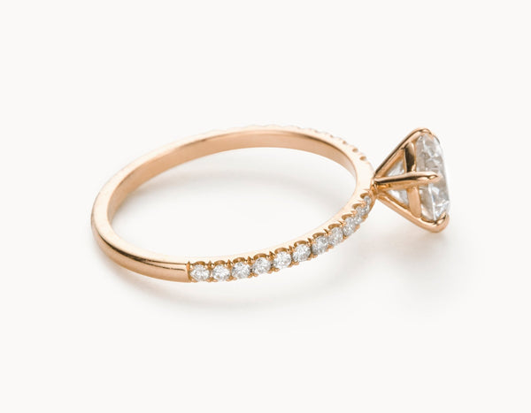 Modern 18k Rose Gold Solitaire Round Brilliant Pave Band Diamond Engagement Ring