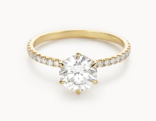 The Solitaire Pavé Engagement Ring | 18k Yellow Gold