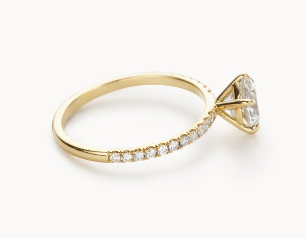 Modern 18k Yellow Gold Solitaire Round Brilliant Pave Band Diamond Engagement Ring