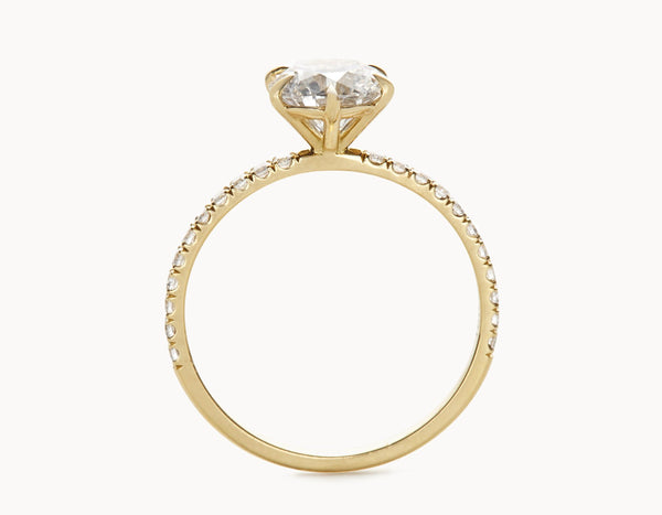 Simple 18k Yellow Gold Solitaire Round Brilliant Pave Band Diamond Engagement Ring
