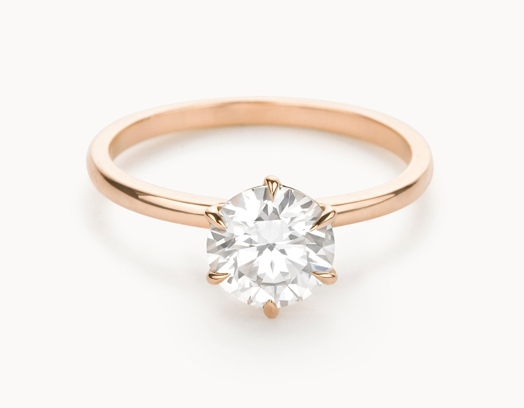 Minimal 18k Rose Gold Solitaire Round Brilliant Diamond Engagement Ring