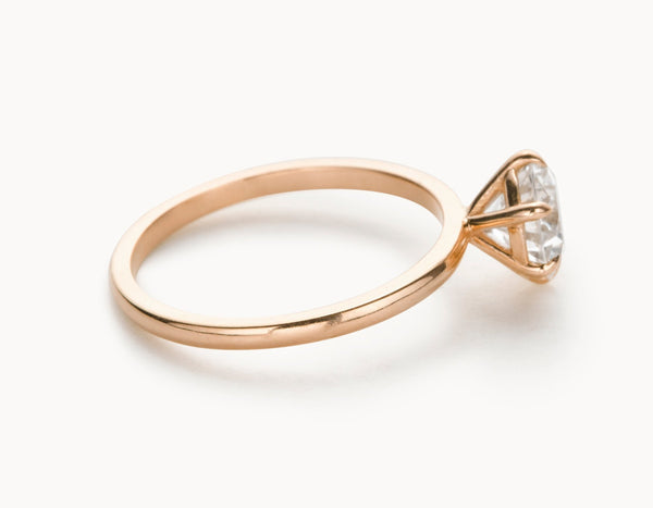 Modern 18k Rose Gold Solitaire Round Brilliant Diamond Engagement Ring
