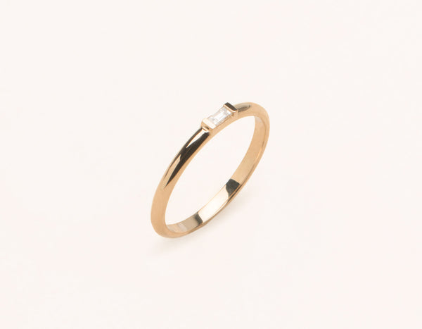 Simple Vrai & Oro 14k Solid Rose Gold Baguette Diamond Ring