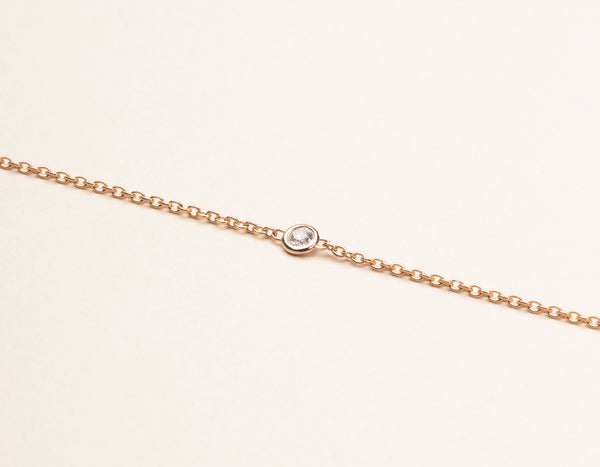 Simple Vrai & Oro Solid 14k Rose Gold Solitaire Diamond Bracelet
