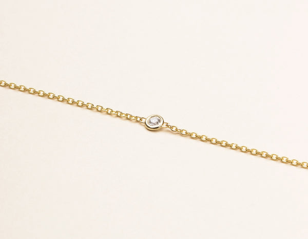 Simple Vrai & Oro Solid 14k Yellow Gold Solitaire Diamond Bracelet