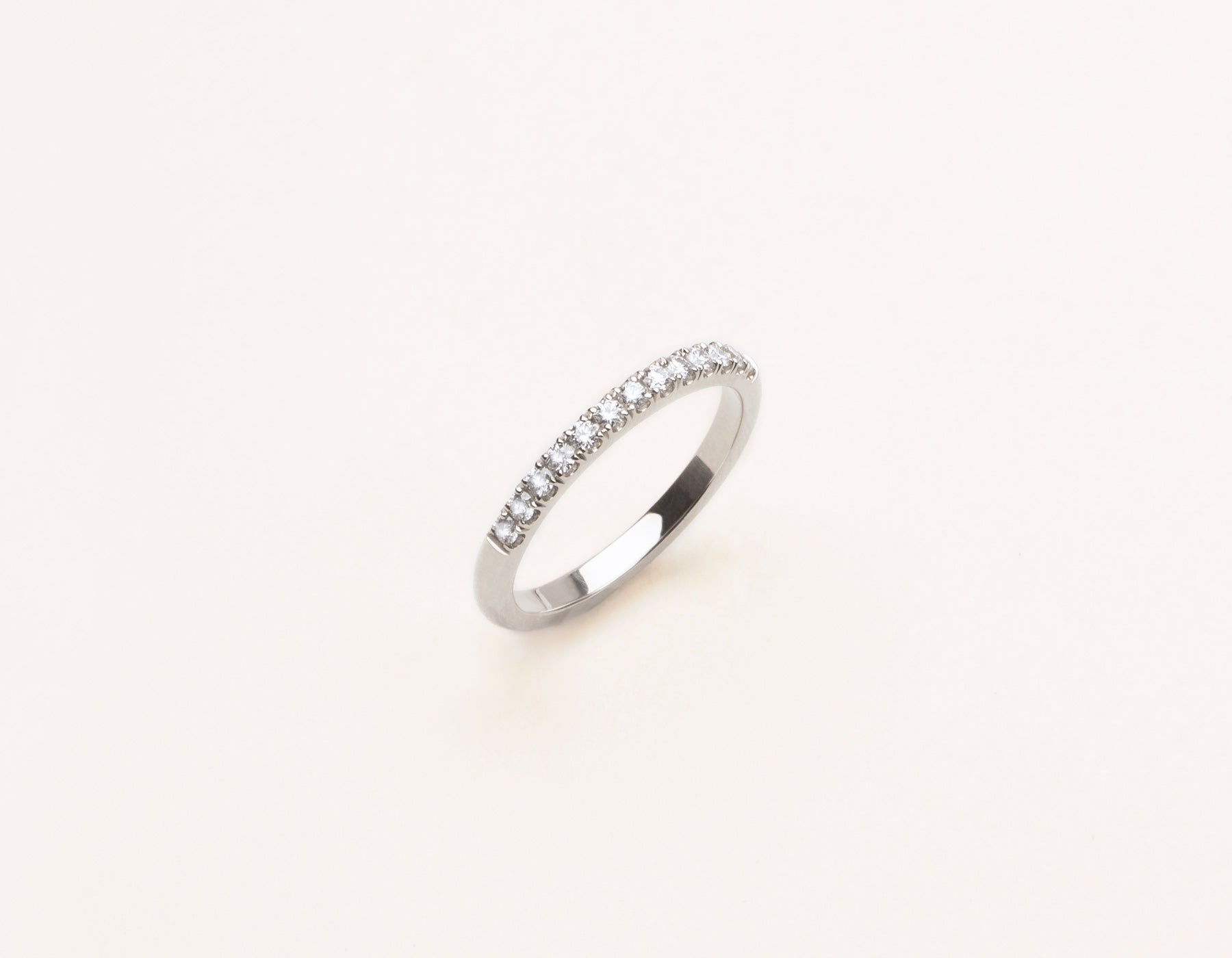 Simple Vrai & Oro Solid 14k White Gold Large Diamond Pave Band
