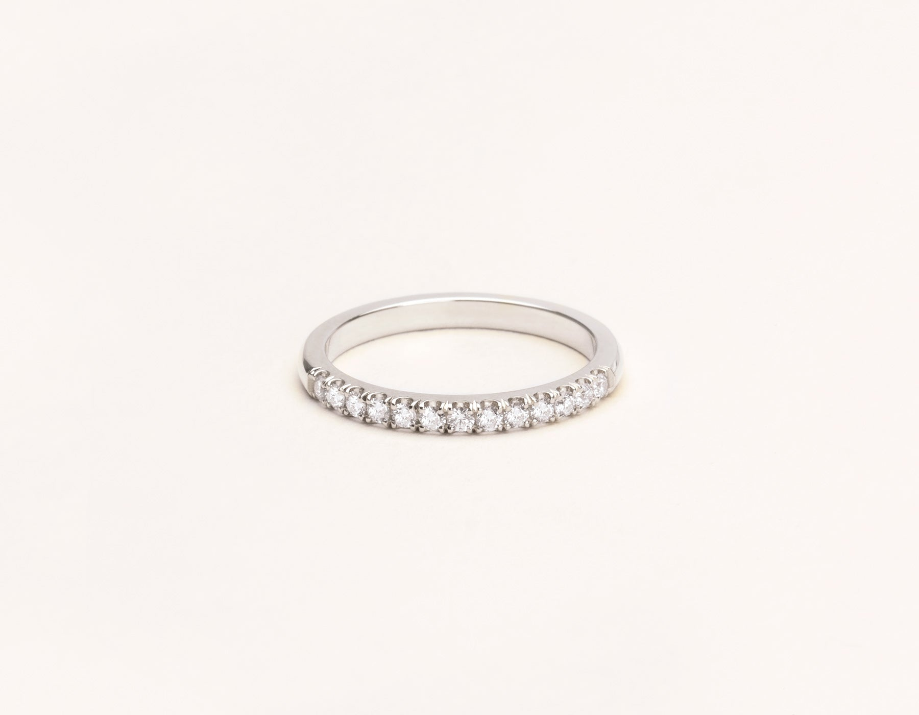 Minimal Vrai & Oro Solid 14k White Gold Large Diamond Pave Band