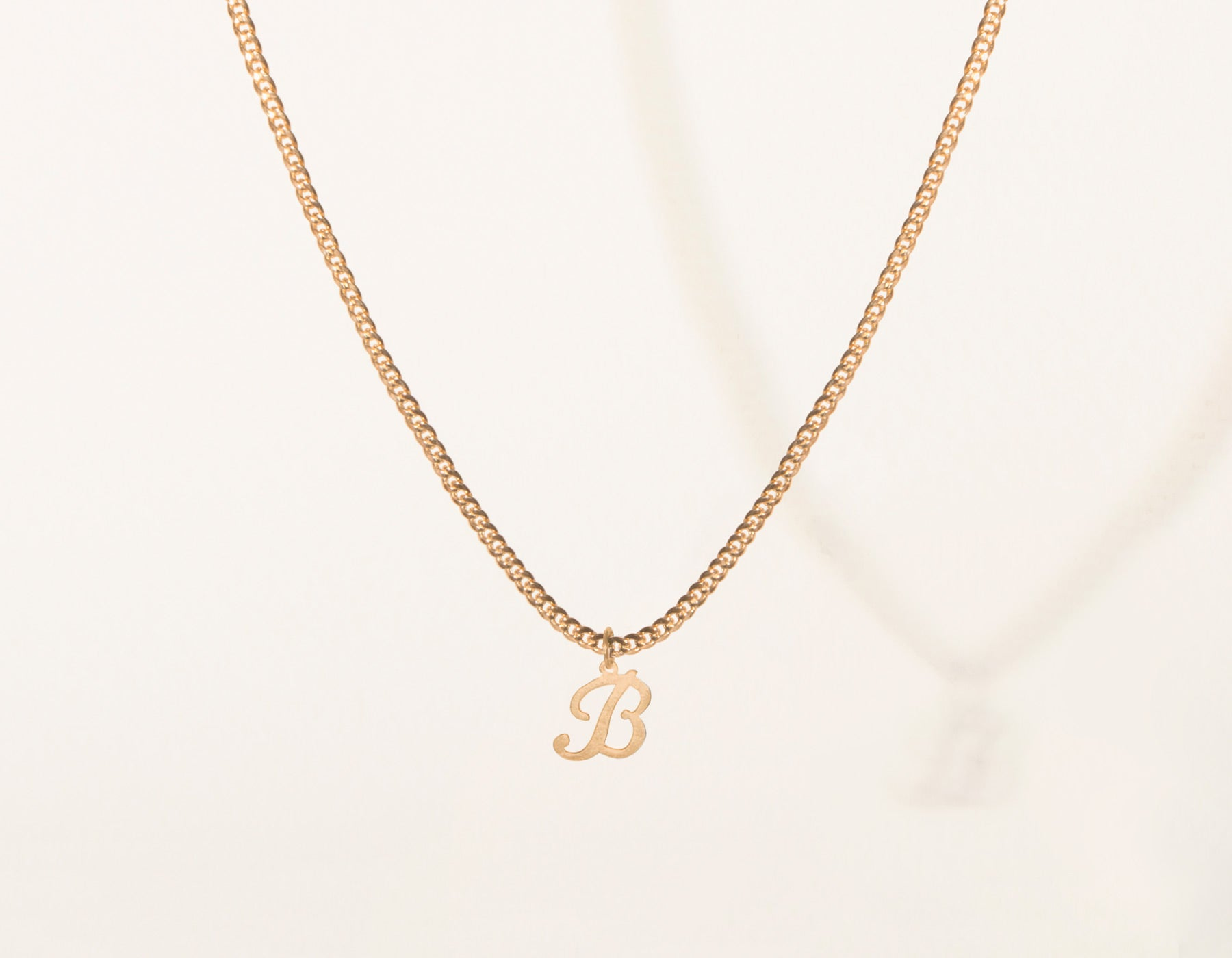Vrai and Oro Cuban Link Chain Letter Pendant 14k Solid rose gold