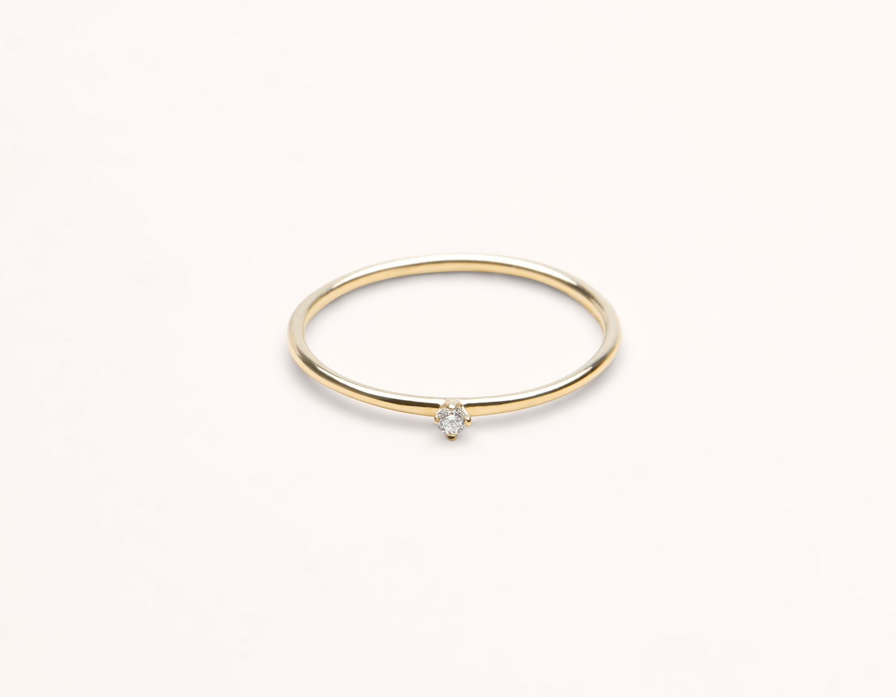 Classic Minimal 14k Yellow Gold Round White Diamond Stacker Ring