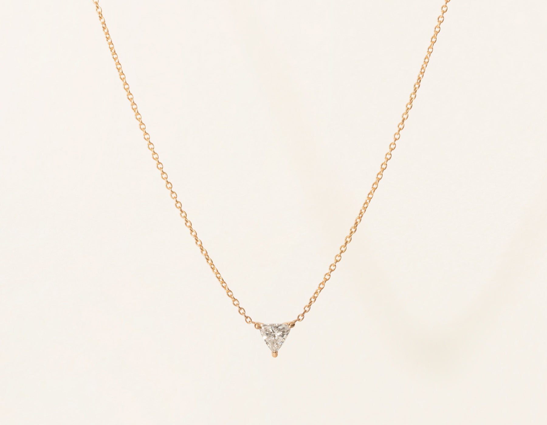 Simple Minimal Vrai & Oro 14k Solid Rose Gold Trillion Diamond Necklace