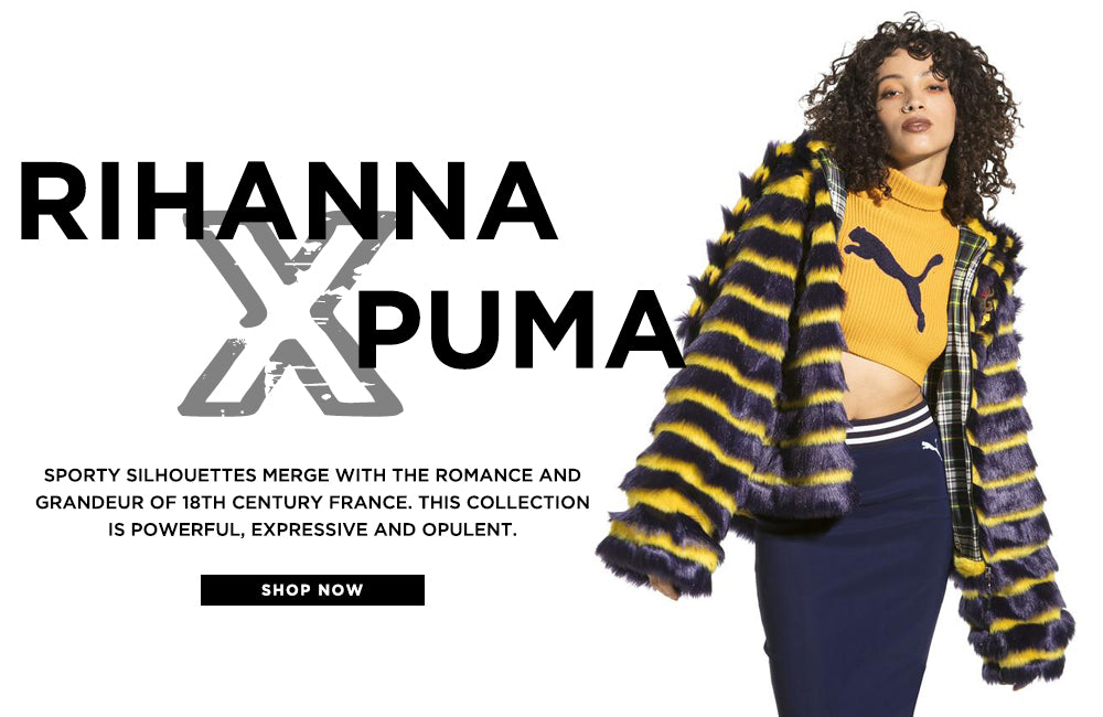 Rihanna x Puma. Sporty silhouettes merge with romance and grandeur of France.