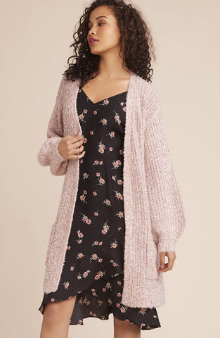 Womens Mauve Rose Coffee Date Cardigan