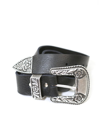 Brave Leather Ltd. Isabeli Leather Belt in Raw Washed Black - Raw Washed Black
