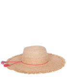 Tan and Red Wide Brim Braid Raffia Hat