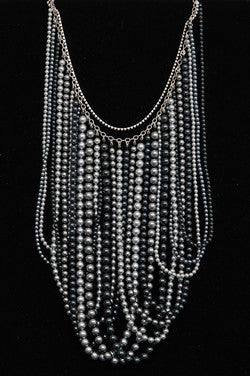 Multi Strand Grey Pearl Necklace