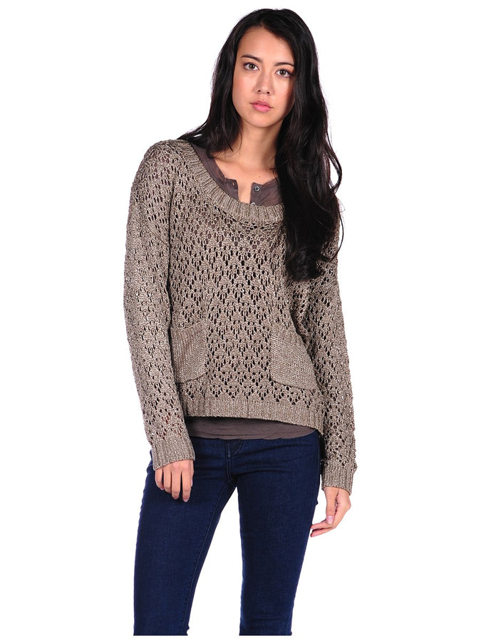 Womens Brown Crew Lurex Blend Sweater