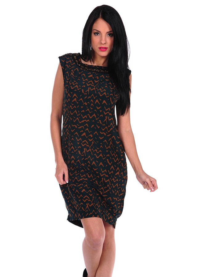 Womens Green Print Dress w/Bead Top