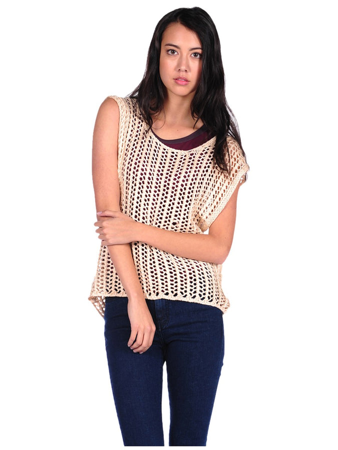 Womens Sand Open Stitch Top