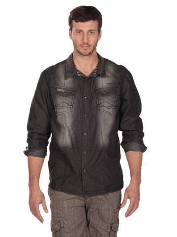 Mens Black Double Pocket Denim Shirt
