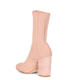 Nude Leather Stretch Ankle Boots - Nude