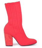 Red Red Fabric Sock Stretch Ankle Boots