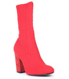 Red Red Fabric Sock Stretch Ankle Boots 2