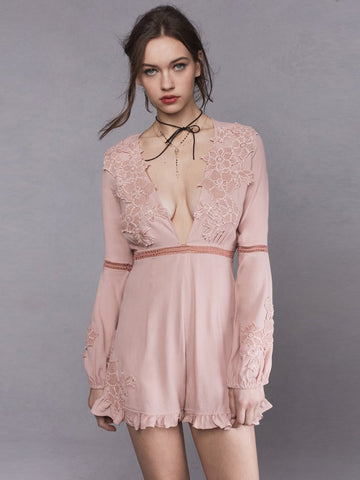 Womens Dusty Pink For Love & Lemons Lilou Floral Romper in Dusty Pink